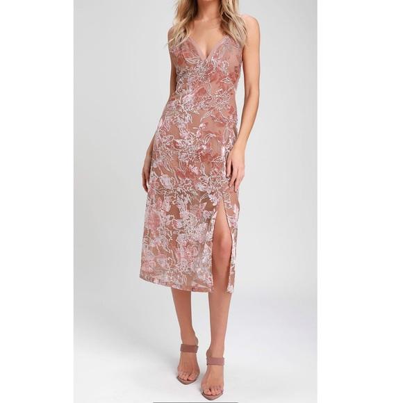 Lulu's Dresses & Skirts - Lulu's Velvet Burn-Out Midi Dress